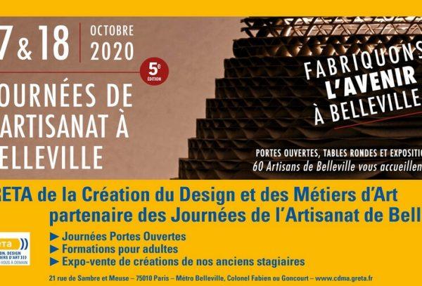 Affiche des JPO - Journées de l'artisanat de Belleville 2020