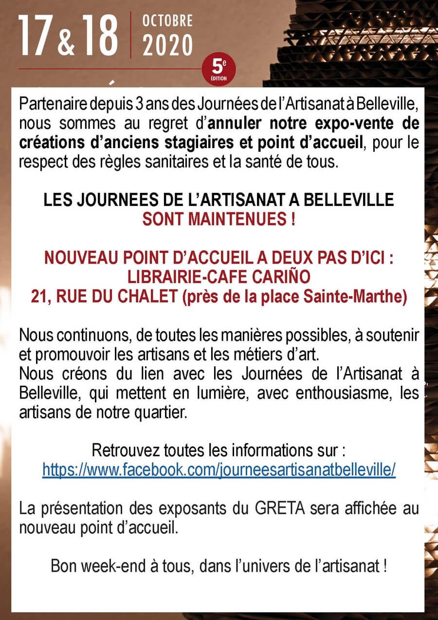 Affiche annulation journées artisanat de Belleville 2020