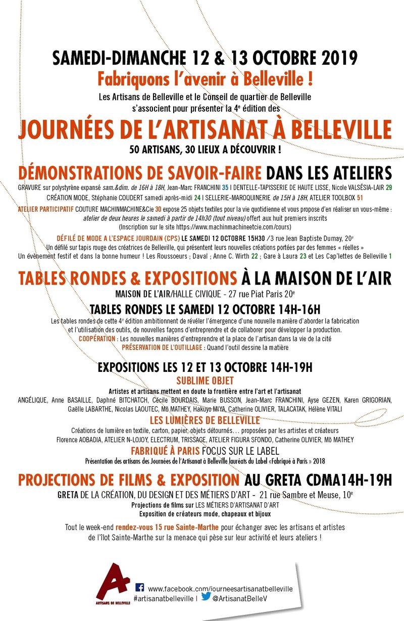 Programme des Journées de l'artisanat de Belleville 2019
